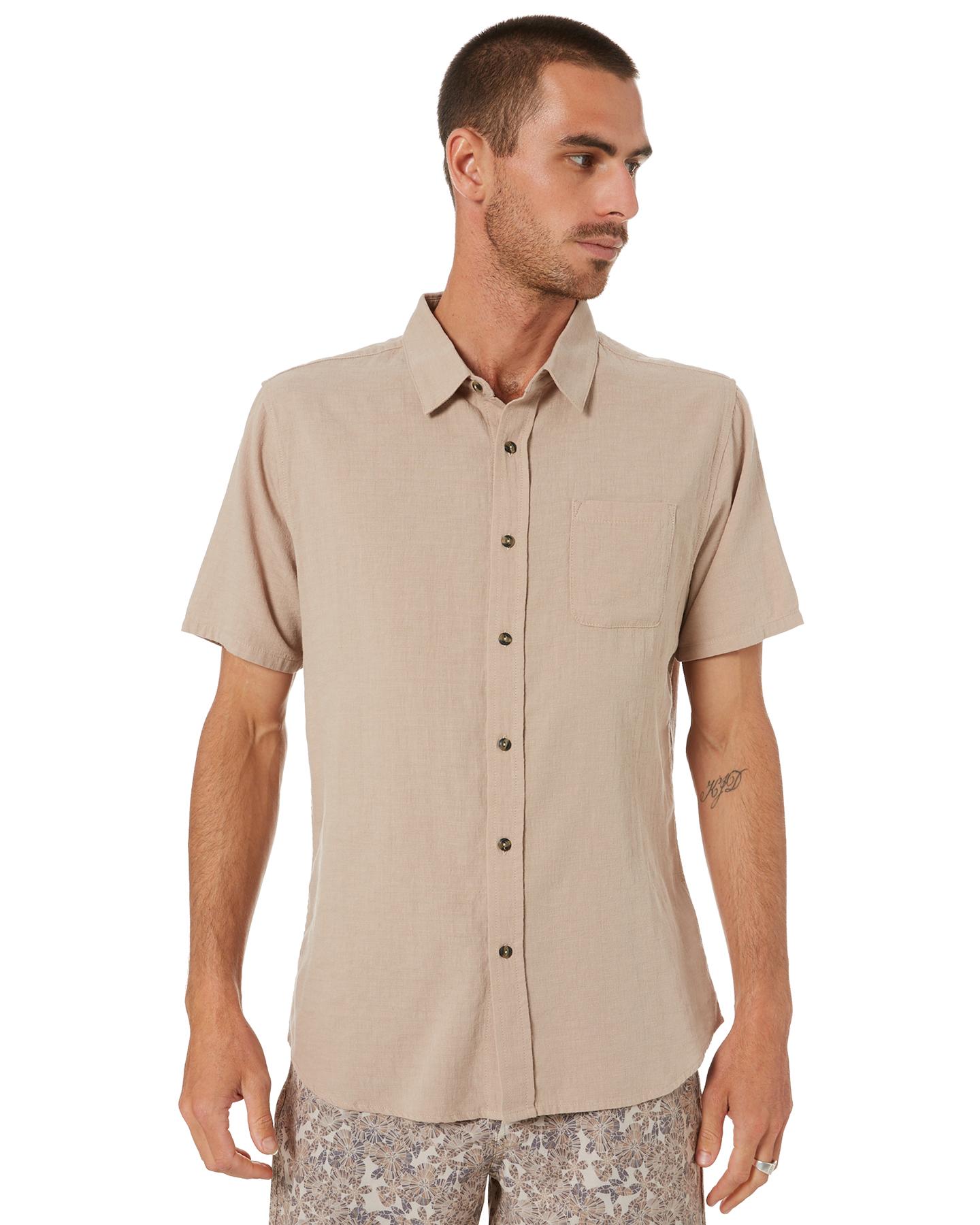 Rusty Overtone Mens Short Sleeve Linen Shirt Humus Humus