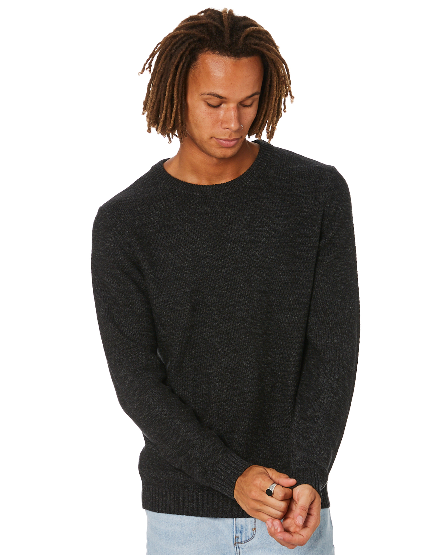 Rusty Skyliner Mens Crew Neck Knit Black One