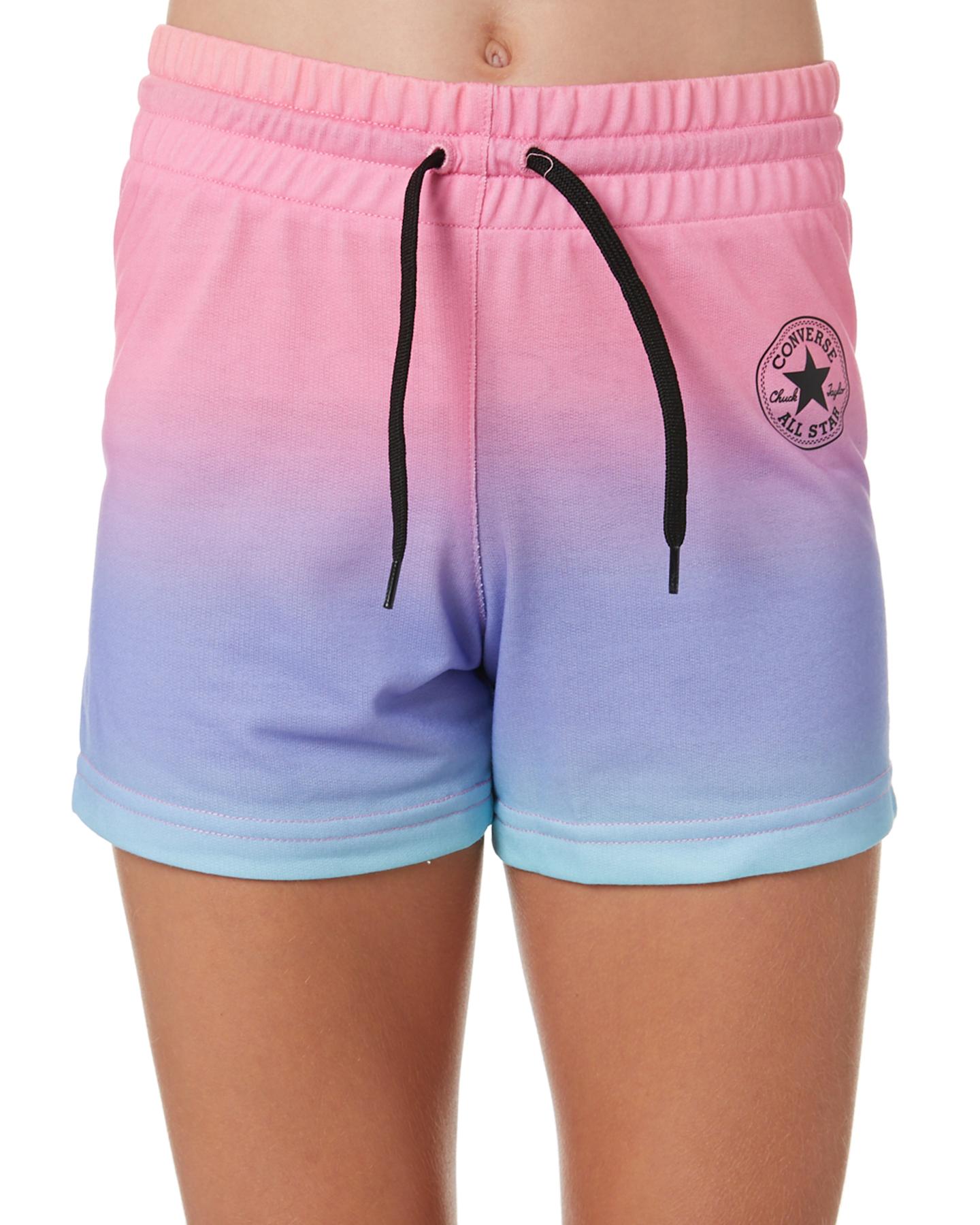Converse Girls Super Soft Ombre Shorts - Teens White Gradient Black