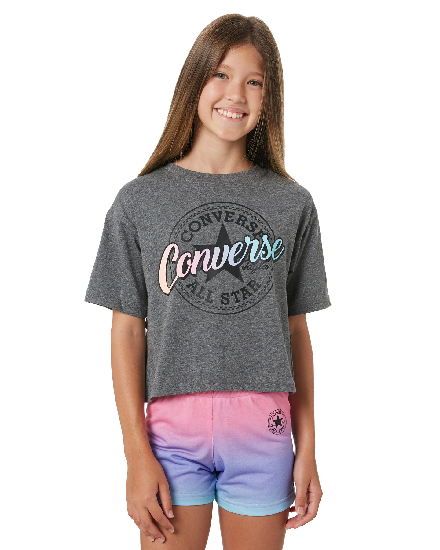 Converse Girls Short Sleeve Tulip Hem Graphic T-Shirt - Teens Charcoal Hacci Charcoal Hacci