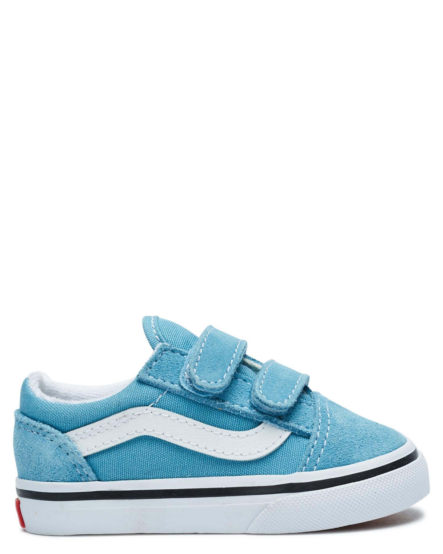 Vans Old Skool Velcro Shoe - Toddler Blue White
