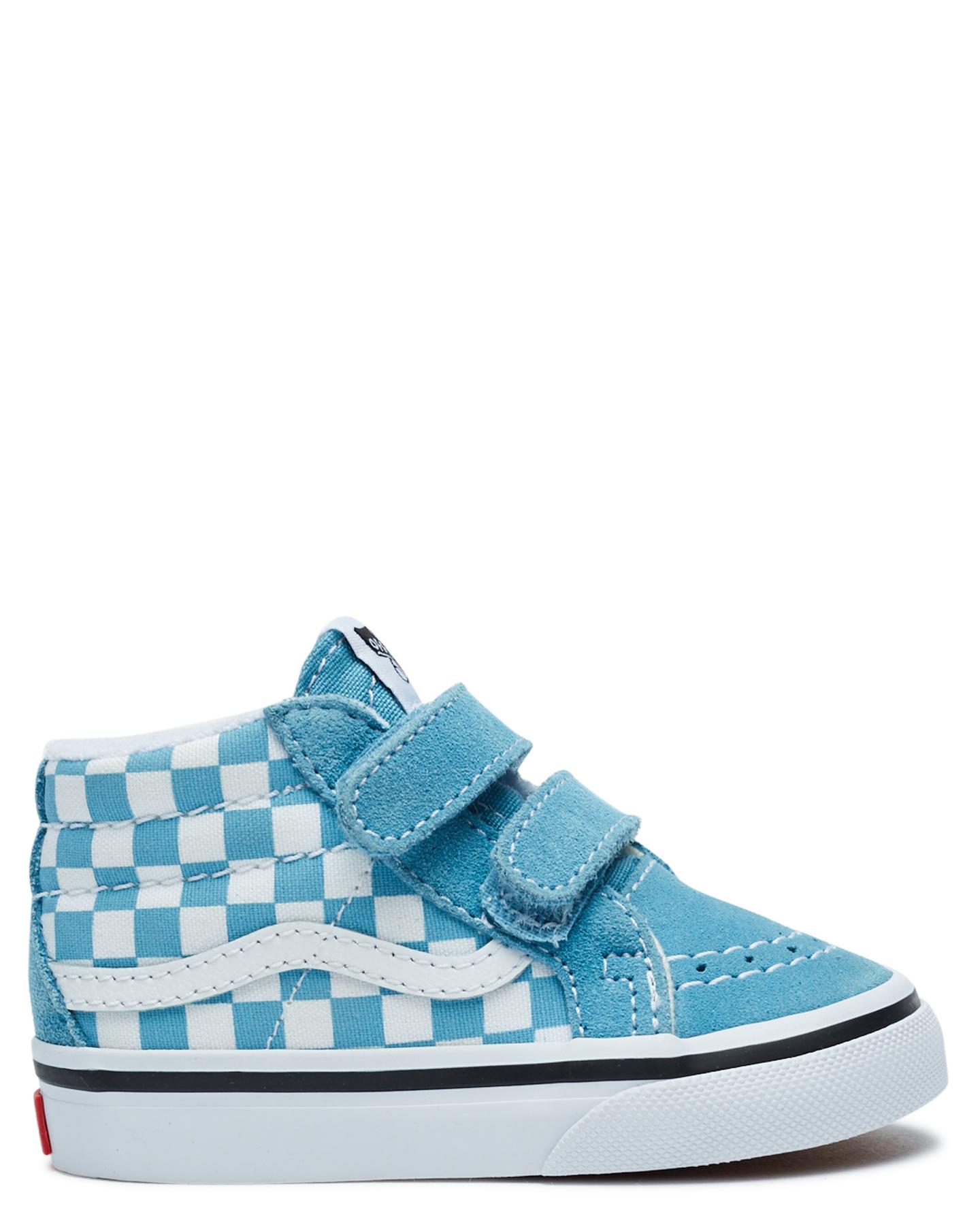 Vans Sk8-Mid Reissue Velcro Shoe - Toddler Blue White