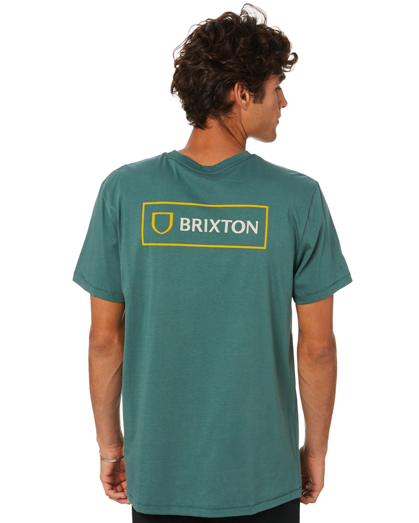 Brixton Alpha Block Mens Ss Tee Silver Pine Silver Pine
