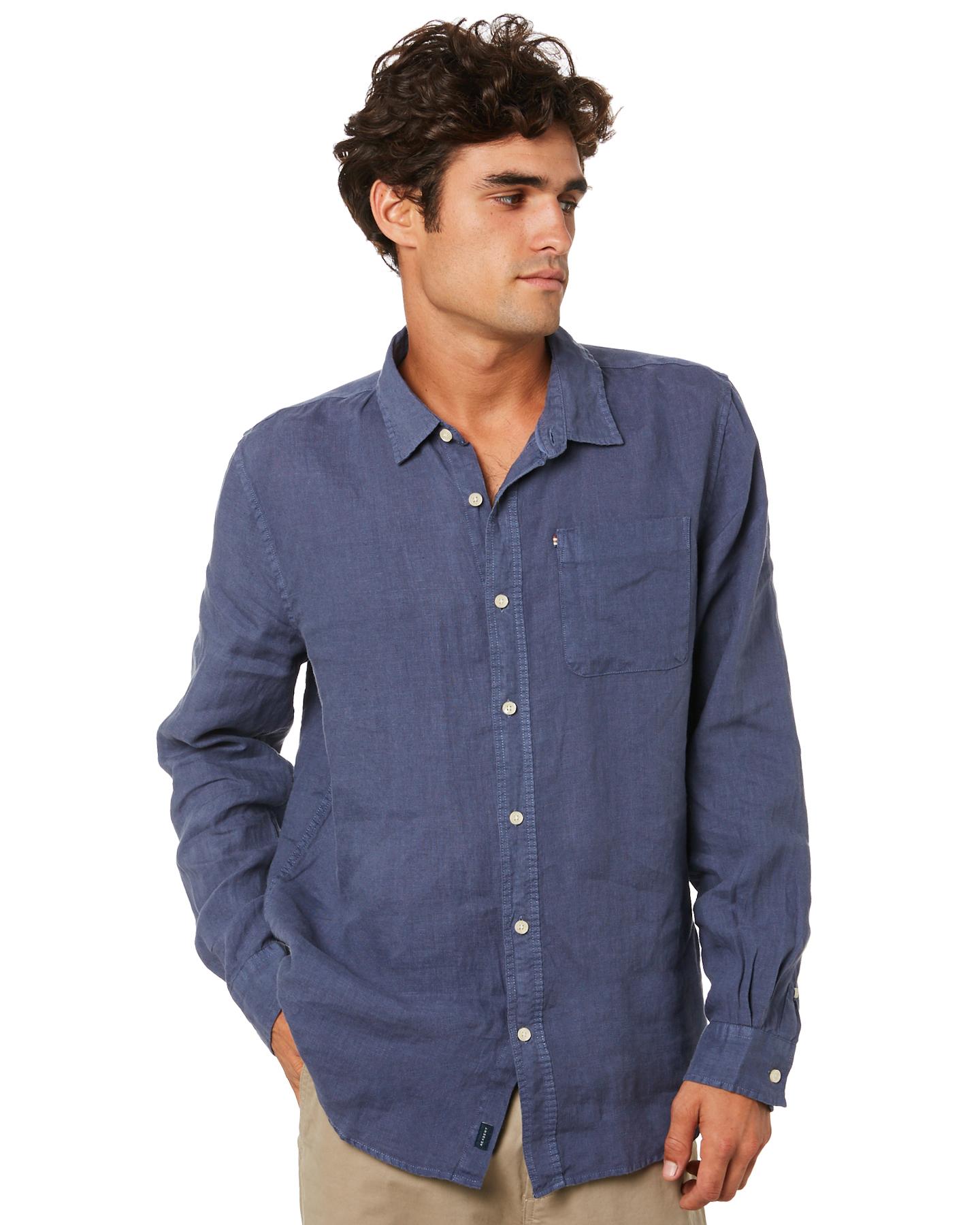 Academy Brand Hampton Mens Linen Shirt Pilot Blue