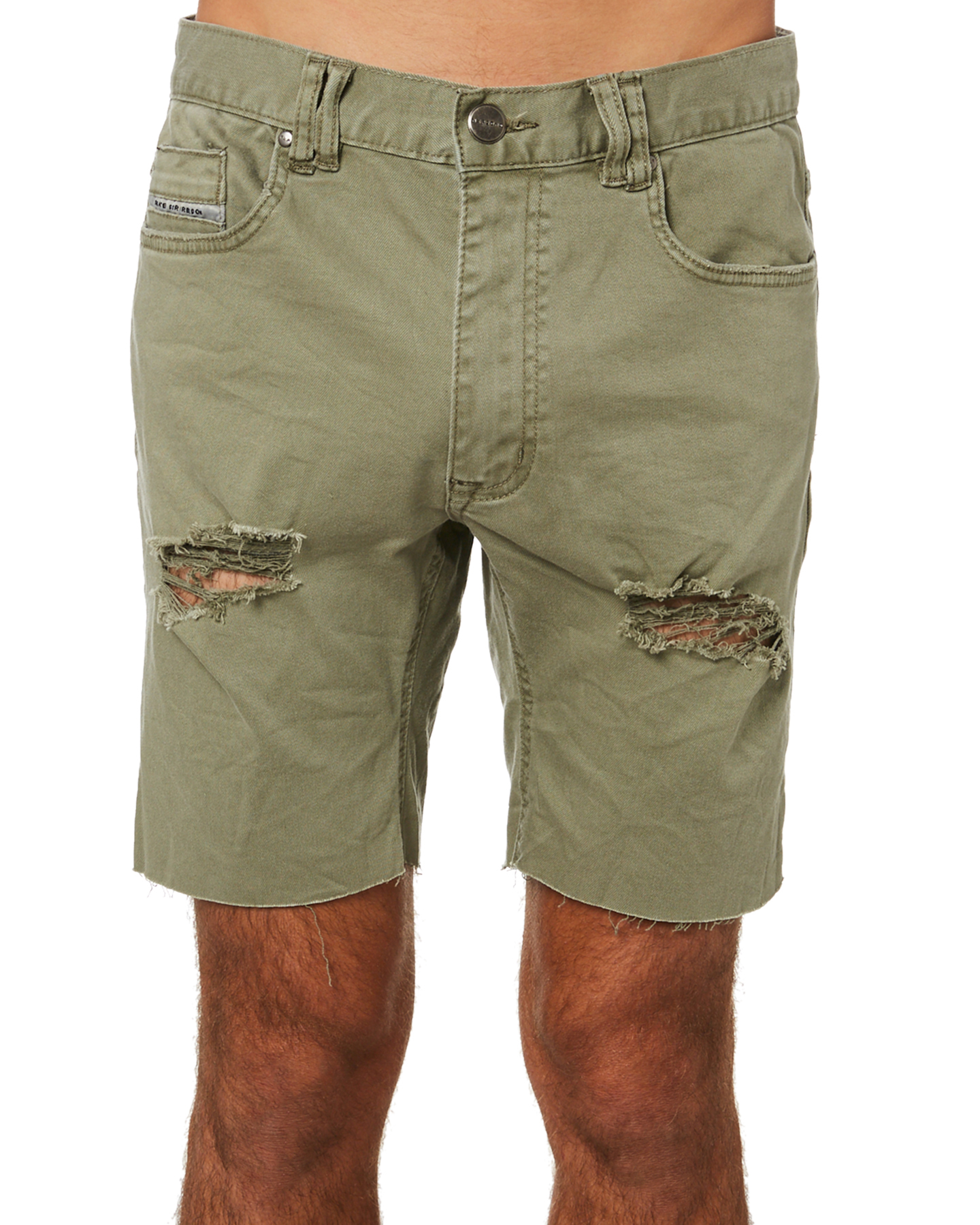 Nena And Pasadena Rawlins Mens Denim Short Destroyed Khaki Destroyed Khaki