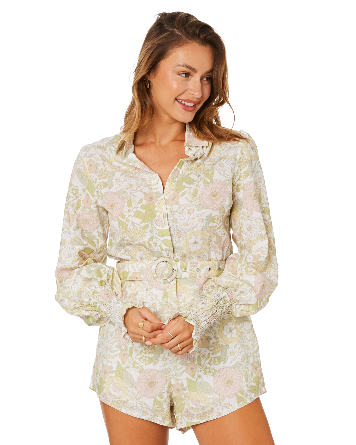 Charlie Holiday Mellow Playsuit Floral Forest Olive